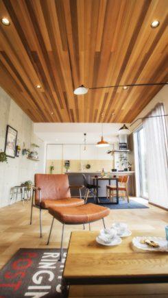 コンクリートと無垢材の調和